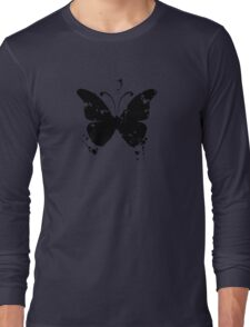 Butterfly silhouette grunge Long Sleeve T-Shirt