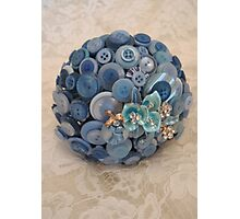 Something Blue: ButtonBelleBridal Bouquet Photographic Print