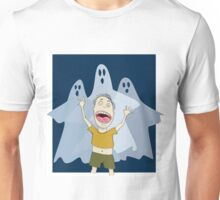 Scared Boy with Ghost Unisex T-Shirt