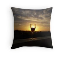 a toast to sunsets Throw Pillow