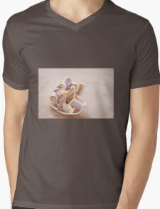 Puffy marshmallows twists on plate Mens V-Neck T-Shirt