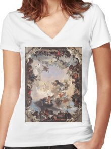 Allegory of Planets & Continents  Women's Fitted V-Neck T-Shirt