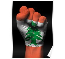 Flag of Lebanon on a Raised Clenched Fist  Poster