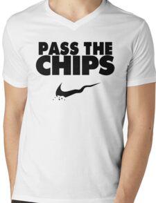 Pass the Chips - Nike Parody (Black) Mens V-Neck T-Shirt