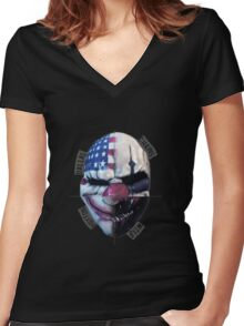 payday masks Women's Fitted V-Neck T-Shirt