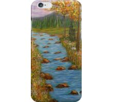 Mountain river, home decor, wall art, impressionism, painting, mixed media iPhone Case/Skin