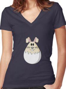Easter Bunny Egg Women's Fitted V-Neck T-Shirt