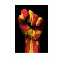 Flag of Macedonia on a Raised Clenched Fist  Art Print