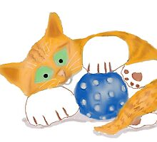 Kitten plays with a Blue Whiffle Ball by NineLivesStudio