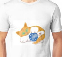 Kitten plays with a Blue Whiffle Ball Unisex T-Shirt
