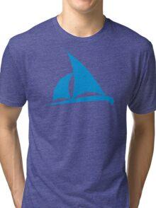 Blue sailing boat Tri-blend T-Shirt