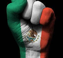 Flag of Mexico on a Raised Clenched Fist  by Jeff Bartels