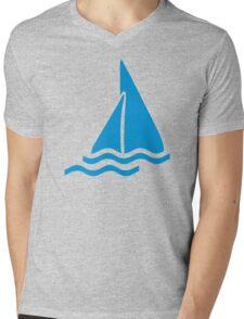 Blue sailing symbol Mens V-Neck T-Shirt