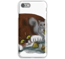 Squirrel and Cat share acorns iPhone Case/Skin
