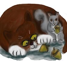 Squirrel and Cat share acorns by NineLivesStudio