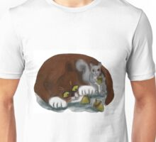 Squirrel and Cat share acorns Unisex T-Shirt