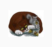 Squirrel and Cat share acorns Unisex T-Shirt