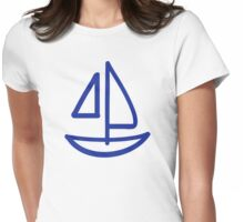 Blue sailing boat Womens Fitted T-Shirt