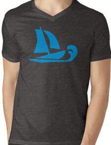 Sailing boat wave Mens V-Neck T-Shirt