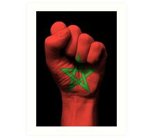 Flag of Morocco on a Raised Clenched Fist  Art Print