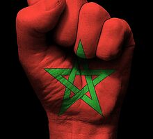 Flag of Morocco on a Raised Clenched Fist  by Jeff Bartels