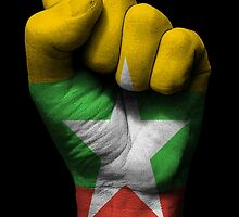 Flag of Myanmar on a Raised Clenched Fist  by Jeff Bartels