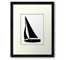 Black sailing boat Framed Print