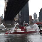 Fire Department New York Fire Boat, East River, 59th Street Bridge, New York City by lenspiro