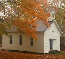 Church in the fall by Lars Clausen