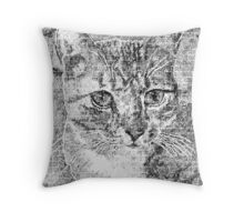 Doodled Cat Throw Pillow