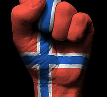 Flag of Norway on a Raised Clenched Fist  by Jeff Bartels