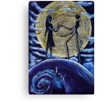 Jack and Sally in the Moon Canvas Print