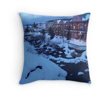 Flowing Stream in Freezing Breckenridge Throw Pillow
