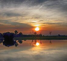 Yellow River Sunset by Marylou Badeaux
