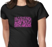 Robots Dream In Pink Womens Fitted T-Shirt