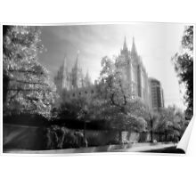 Salt Lake Temple - Black and White Poster
