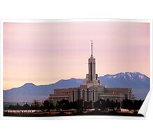 Mount Timpanogos Temple - Pink Morning Poster