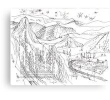 LAST HELI-RUN TODAY(C2013)(INK PEN DRAWING) Canvas Print
