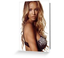 Portrait of a beautiful woman with blond hair wearing lingerie art photo print Greeting Card