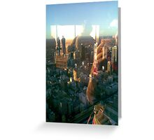 gold above blue city below Greeting Card