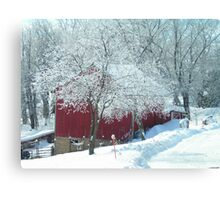 Red Barn in Winter White  Canvas Print