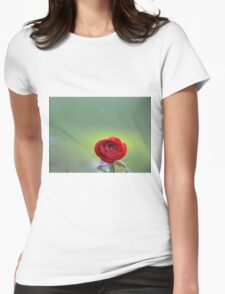 Red Ranunculus Macro  Womens Fitted T-Shirt