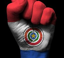 Flag of Paraguay on a Raised Clenched Fist  by Jeff Bartels