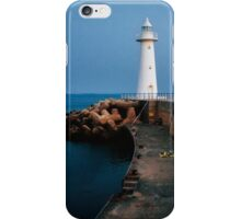 White lighthouse at dusk iPhone Case/Skin