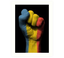 Flag of Romania on a Raised Clenched Fist  Art Print