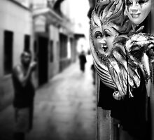 Carnival masks with the smoking man, Venice 2002 by Jim Panzer