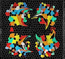Hungry Chicks Abstract Stained Glass Mosaic by Beverly Claire Kaiya