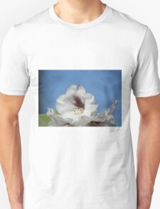 Pretty White Rhododendron with Burgundy Unisex T-Shirt