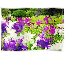 Abstract Stained Glass Iris Garden Mosaic Poster
