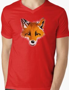 Fox on Orange Mens V-Neck T-Shirt